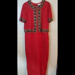 Vintage Silk Beaded Maxi Red Christmas Dress